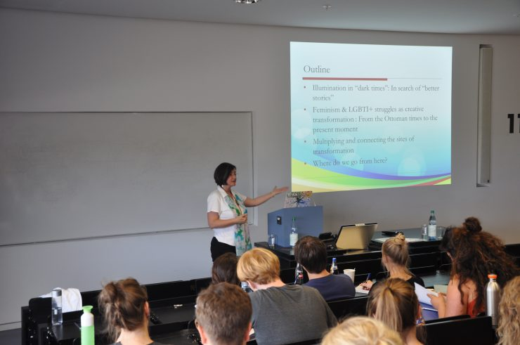 """Ayse-Gül Altinay: Doing Feminism and Gender Studies in Dark Times, 6.6.2018, Cornelia Goethe Center lecture series, summer 2018, """"Feminisms from the Global South""""."""